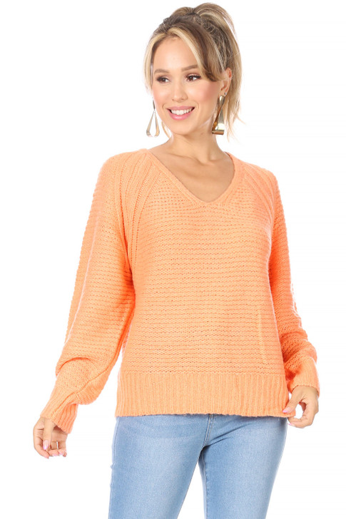 Wholesale Coral Knitted Sweater (Front)