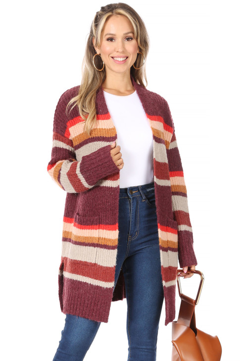 Wholesale Burgundy striped Knitted Cardigan with Pockets (Front)