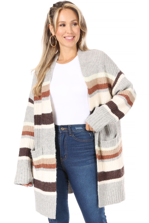 Wholesale Gray striped Knitted Cardigan with Pockets (Front)