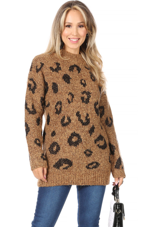 Wholesale Long Tan Knitted Pattern Sweater (Front)