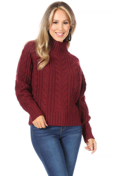 Wholesale Burgundy Knit Sweater (Front)