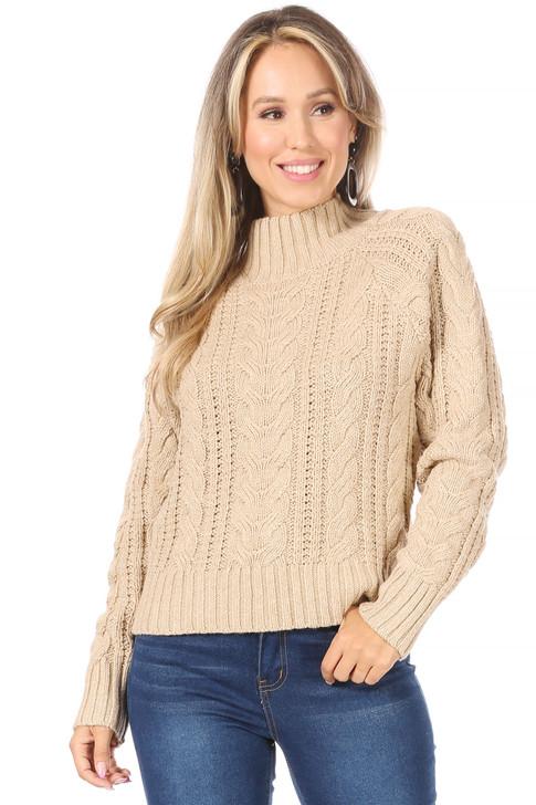 Wholesale Beige Knit Sweater (Front)