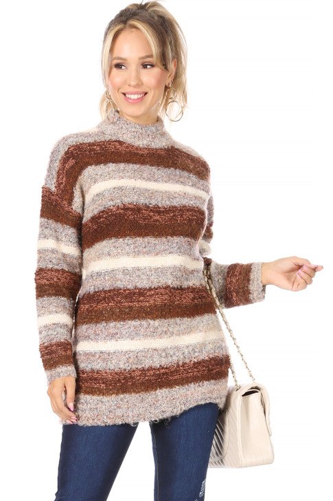 Wholesale Brown Striped Sweater (Front)