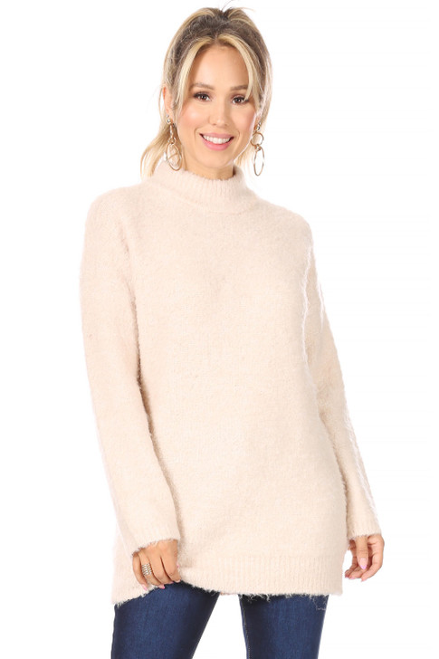 Wholesale Cream Knit Sweater (Front)