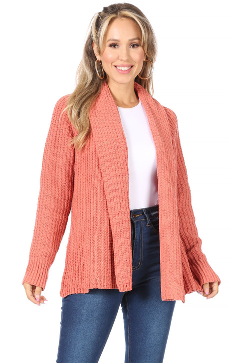 Wholesale Coral Open Front Cardigan (Front)