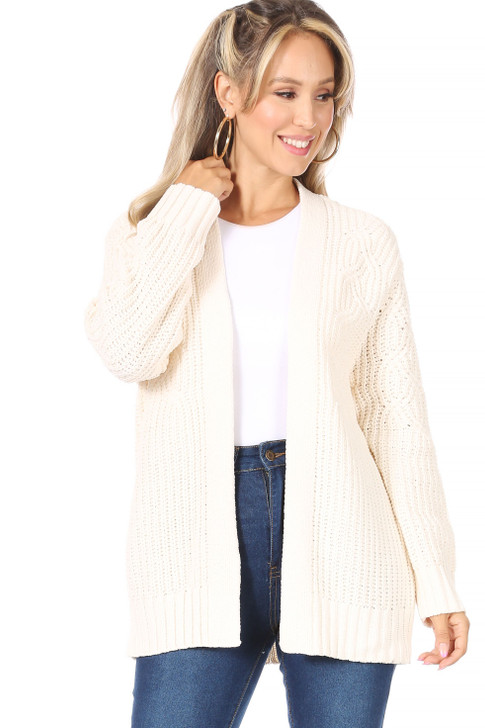 Wholesale Cream Open Front Cardigan (Front)