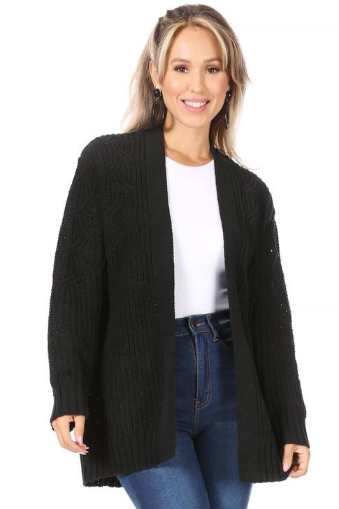 Wholesale Black Open Front Cardigan (Front)