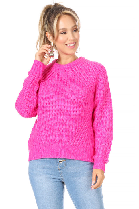 Wholesale Hot Pink Knit Sweater (Front)