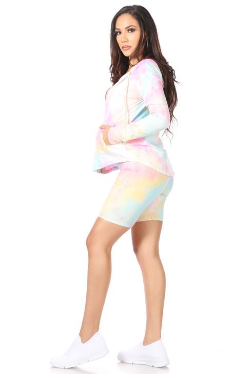 Wholesale Pink Tie Dye Hoodie & Shorts Set  (Front)