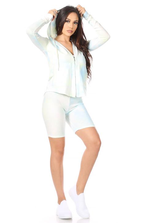 Wholesale Blue Tie Dye Hoodie & Shorts Set (Front)