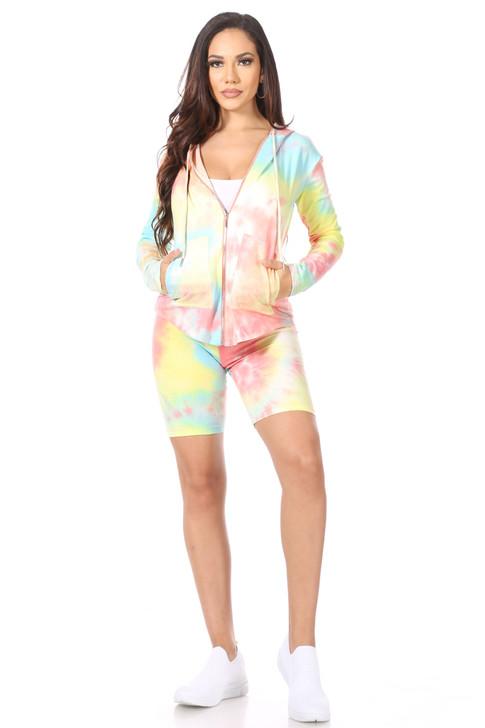 Wholesale Coral Tie Dye Hoodie & Shorts Set (Front)