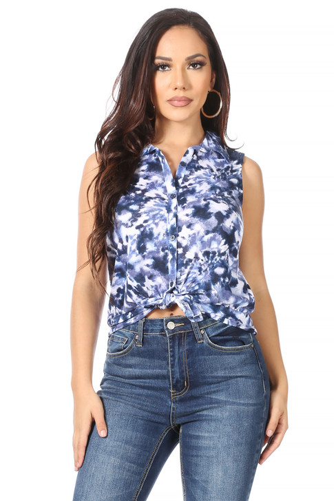 Wholesale Blue Cove Blouse with Top Back Lace (Front)