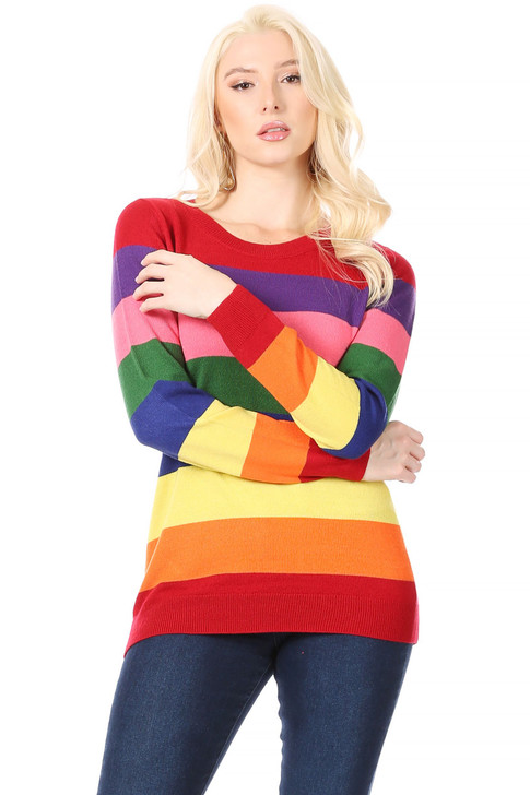 Wholesale Long Rainbow Striped Sweater (Front)
