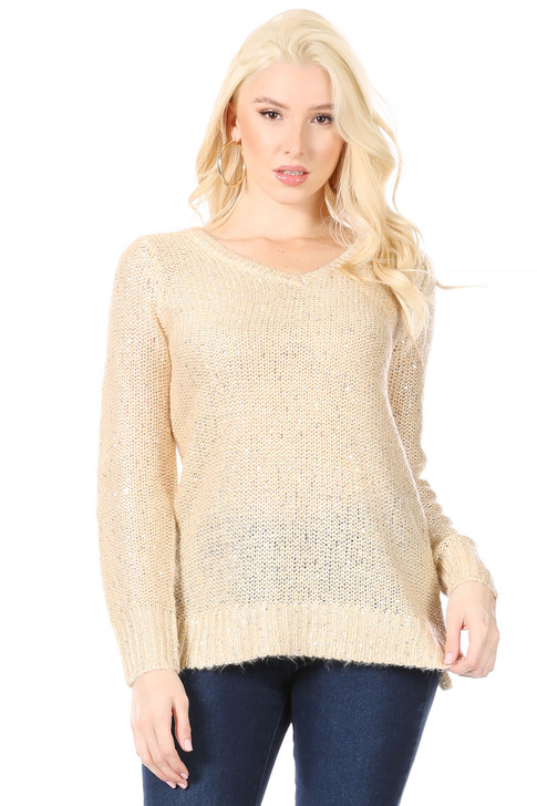 Wholesale Long V-Neck  Reverse Stockinette Stitch Gold Sweater with Silver Sequins Woven Throughout (Front)