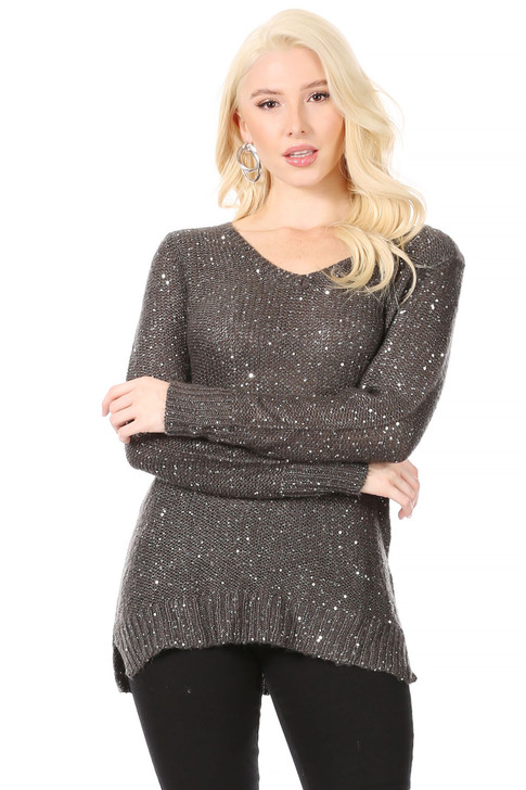 Wholesale Long V-Neck  Reverse Stockinette Stitch Dark Grey Sweater with Silver Sequins Woven Throughout (Front)