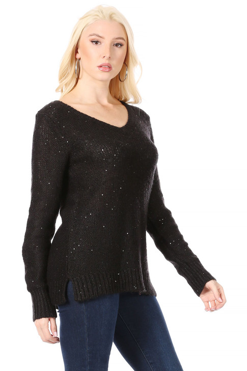 Wholesale Long V-Neck Reverse Stockinette Stitch Black Sweater with Black Sequins Thoughout  (Front)