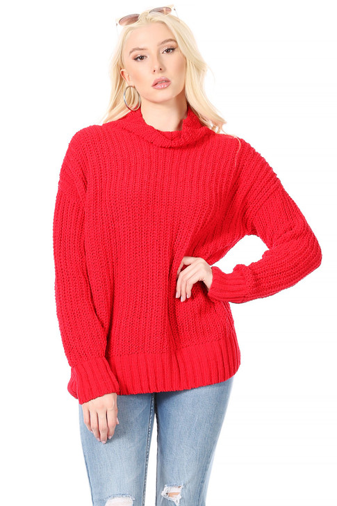 Wholesale Long, Thick, Velour Weave, Funnel Neck Sweater in Fire-Engine Red (Front)