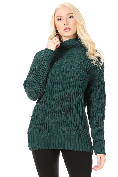 Wholesale Long, Thick, Velour Weave, Funnel Neck Sweater in Forest Green (Front)