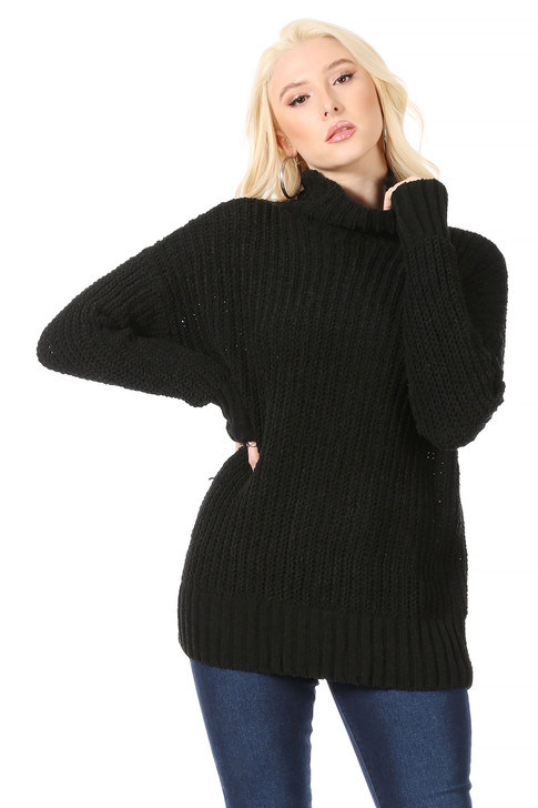 Wholesale Long, Thick, Velour Weave, Funnel Neck Sweater in Black (Front)