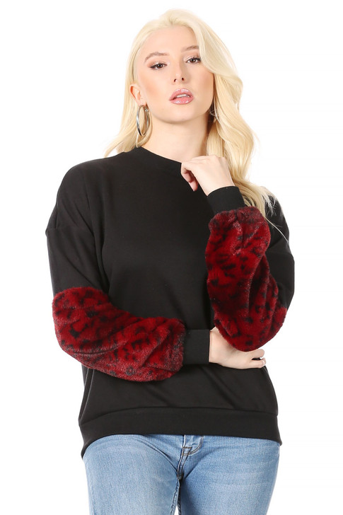 Wholesale Black, Drop-Shoulder Sweatshirt with a Red Leopard-Print Faux-Fur Sleeve. (Front)