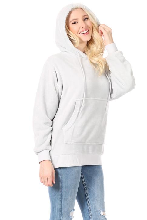Wholesale Arctic Grey Velour Hoodie Sweatshirt with Kangaroo Pocket  (Front)