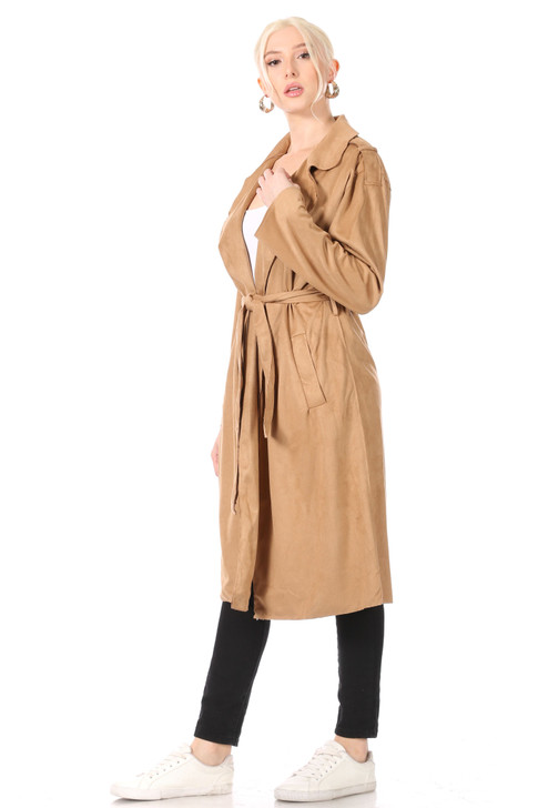Wholesale Camel Faux-Suede Soft Trenchcoat with Notch Lapel, Welt Pockets and Tie Belt (Front)
