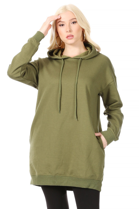 Wholesale Long Olive Green Hoodie with Side Pockets and Ribbing at Wrists and Hem (Front)
