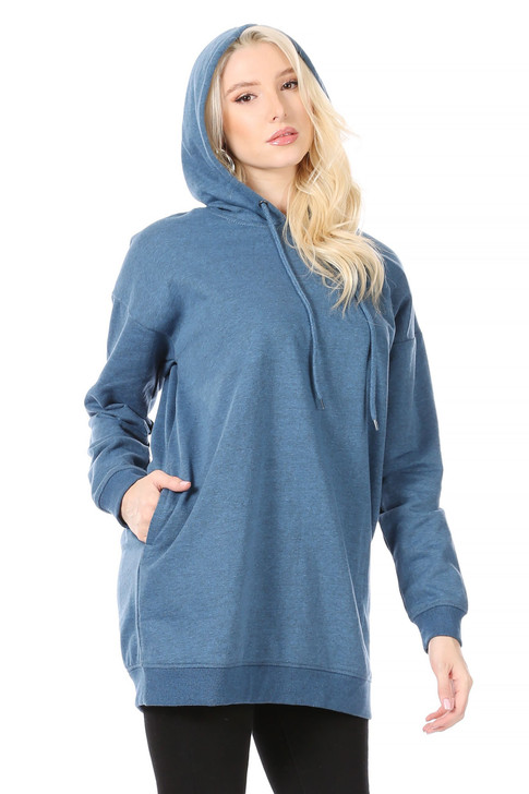 Wholesale Long Yale Blue Hoodie with Side Pockets and Ribbing at Wrists and Hem (Front)