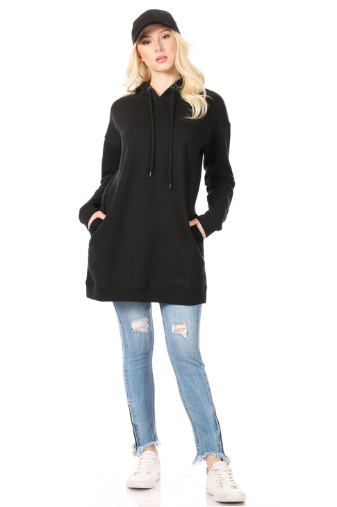 Wholesale Long Black Hoodie with Side Pockets and Ribbing at Wrists and Hem (Front)