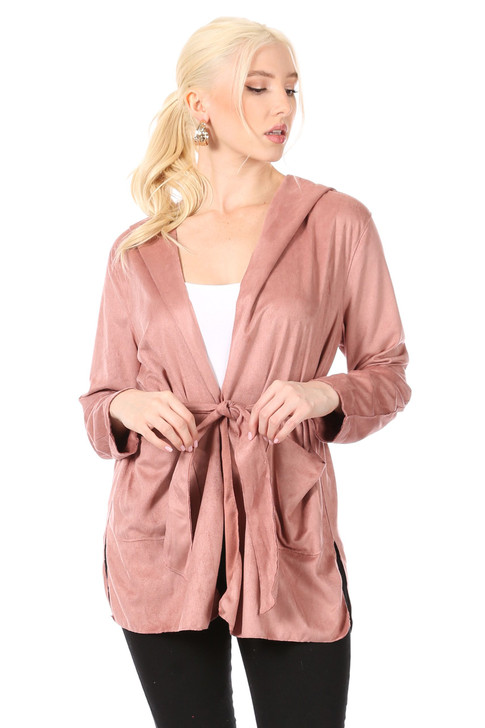 Wholesale Mauve Soft Faux-Suede Hoodie Jacket with Side-Slits at Hem, Patch Pockets and Self-Tie Belt (Front)