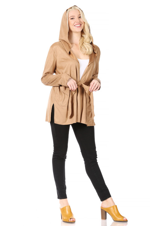 Wholesale Camel Soft Faux-Suede Hoodie Jacket with Side-Slits at Hem, Patch Pockets and Self-Tie Belt (Front)