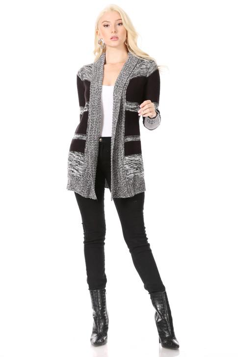 Wholesale Black Multi-Grey Horizontal Striped Cardigan Sweater with Multi-Grey Shawl Collar (Front)