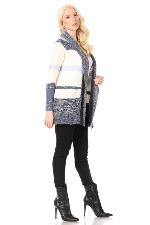Wholesale White Multi-Blue Horizontal Striped Cardigan Sweater with Multi-Blue Shawl Collar (Front)