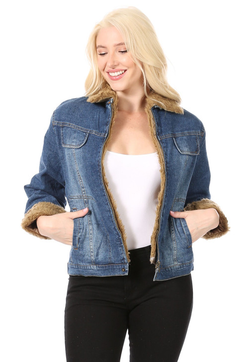 Wholesale Seamed Denim Jacket with Welt Side Pockets and Removable Dark Gold Faux Fur Collar and Cuffs with Quilted Lining (Front)