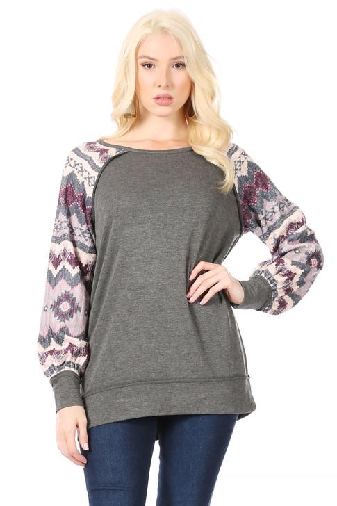 Wholesale Dark Grey Sweatshirt with Geometric Pink/Mauve Design in Raglan Sleeve (Front)