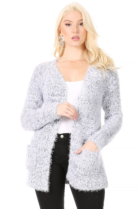 Wholesale Solt White/Grey Chunky Mohair-Look Open Front Cardigan with Patch Pockets at Hem (Front)