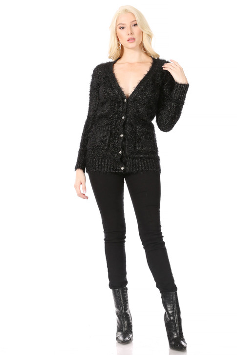 Wholesale Black/Metallic-Gold V-Neck Cardigan in Soft Mohair-Look Knit and Gold Button Closure (Front)
