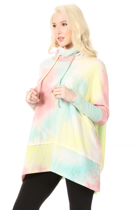 Wholesale Pastel Tie-Dye Baby-Soft Poncho/Sweatshirt with Turtle Neck (Front)
