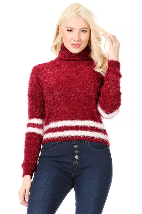 Wholesale Burnt Cherry Fur-Weave Yarn, Turtle-Neck Sweater with White Stripes at Hem and Sleeves  (Front)