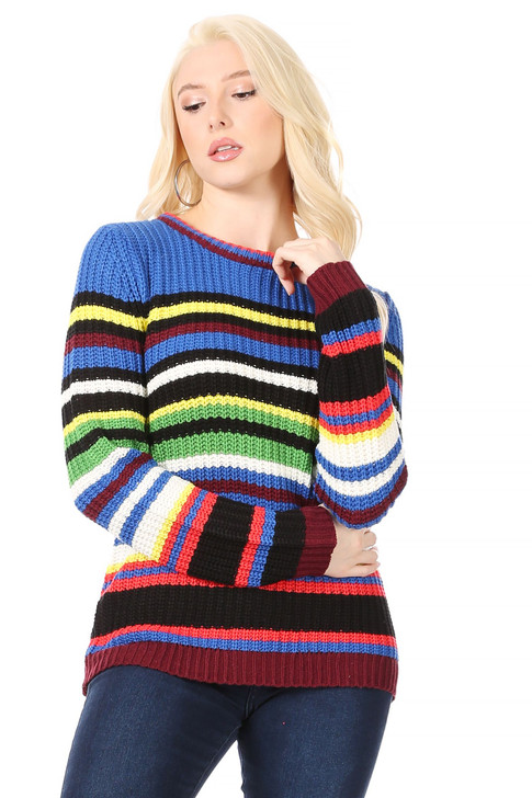Wholesale White, Black and Neon Striped Pullover Sweater (Front)