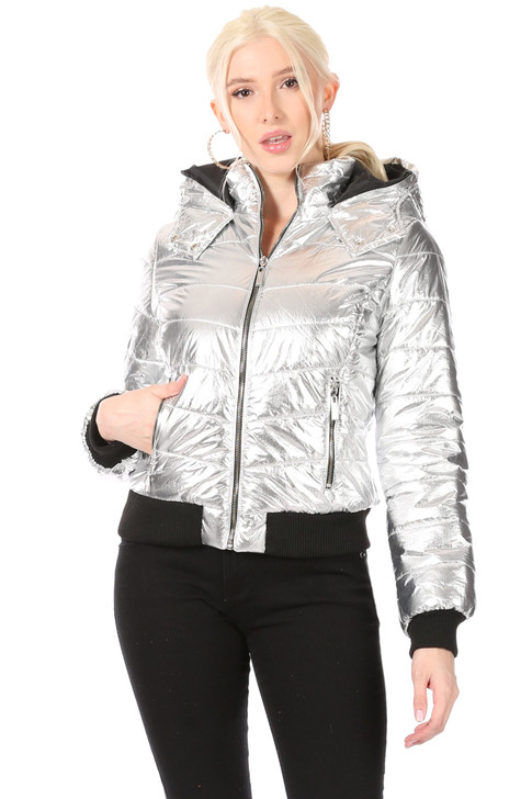Wholesale Quilted Silver Metallic Jacket with Hood, Black Knit Ribbing at Hem and Cuffs, Zipper Front Closure, Zippered Side Pockets (Front)