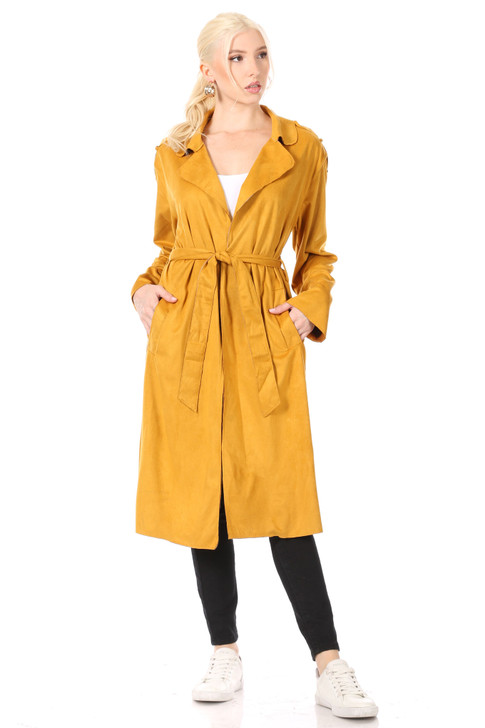 Wholesale Deep Gold Faux-Suede Soft Trenchcoat with Notch Lapel, Welt Pockets and Tie Belt (Front)