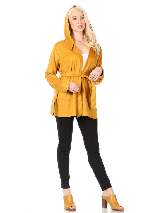 Wholesale Deep Gold Soft Faux-Suede Hoodie Jacket with Side-Slits at Hem, Patch Pockets and Self-Tie Belt (Front)