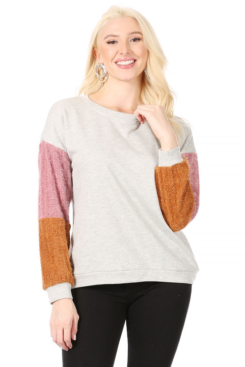 Wholesale Light Grey Sweatshirt with Drop Shoulder Sleeves, Mauve Pink and Carmel Mohair-Look Insets along the Sleeves  (Front)