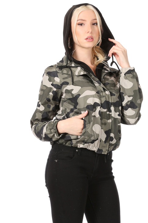 Wholesale Camoflage Jacket with Zipper and Snap Front Closure, Faux Black Hoodie Insert with Zipper Closure, Elastic at Cuffs and Drawstring along Hem (Front)
