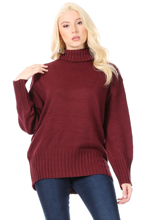 Wholesale Long Burgundy Turtle-Neck with Drop-Shoulder and Wide Ribbing at Sleeves and Hem (Front)