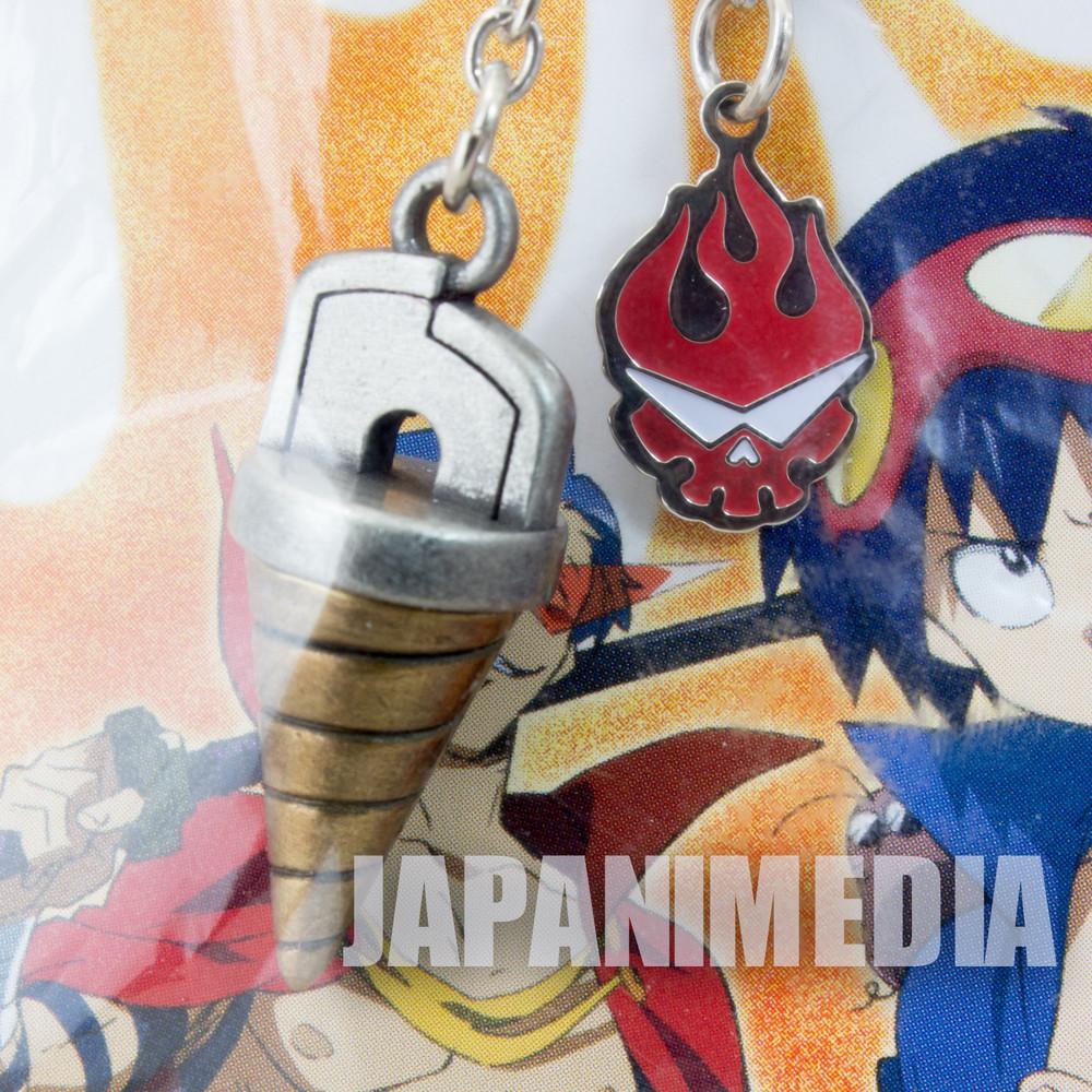 RARE! Gurren Lagann Core Drill & Team Gurren Mark Strap Keychain JAPAN ANIME MANGA