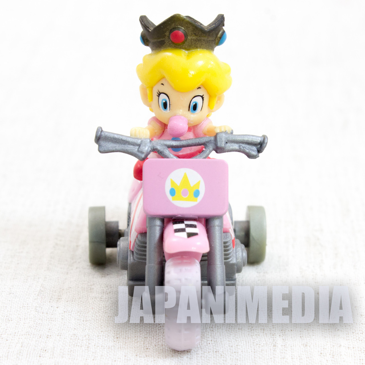 Super Mario Kart Wii Baby Princess Peach Mini Figure Pull Back Car Bike Japan