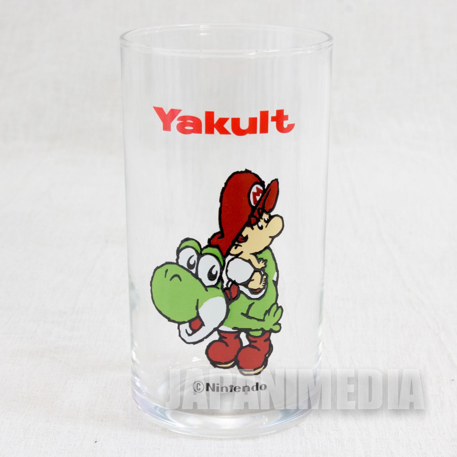 Retro RARE Super Mario Bros. Baby Mario on Yoshi Glass JAPAN GAME FAMICOM 2