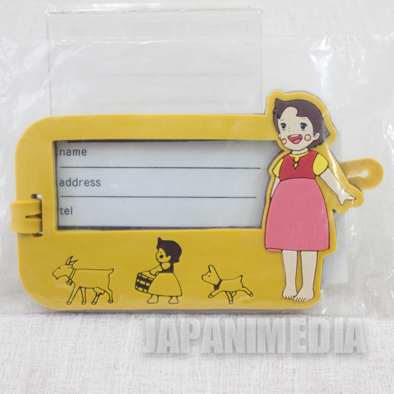 Heidi Girl of the Alps Rubber Name Plate Holder Yellow JAPAN ANIME